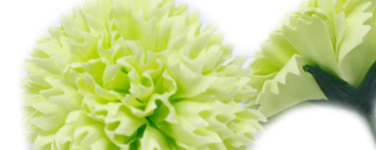 Fleurs de savon oeillets vert citron