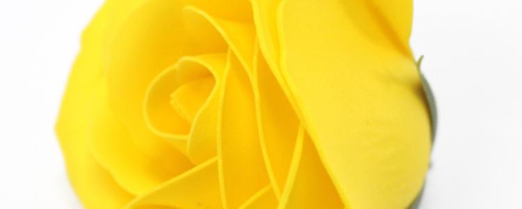 Fleurs de savon roses larges jaunes